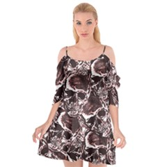 Skull Pattern Cutout Spaghetti Strap Chiffon Dress