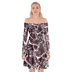 Skull Pattern Off Shoulder Skater Dress