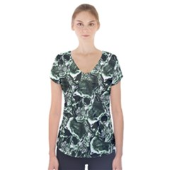 Skull Pattern Short Sleeve Front Detail Top