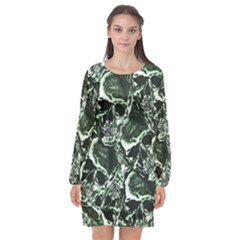 Skull Pattern Long Sleeve Chiffon Shift Dress