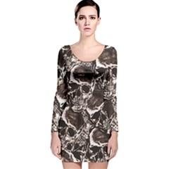 Skull pattern Long Sleeve Velvet Bodycon Dress