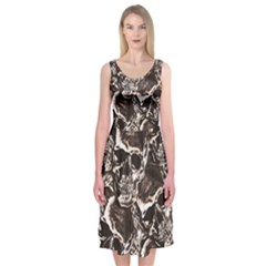 Skull Pattern Midi Sleeveless Dress