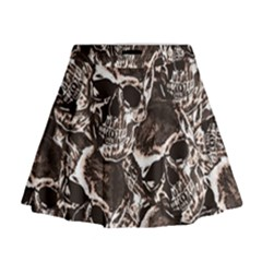 Skull Pattern Mini Flare Skirt
