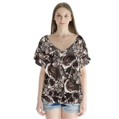 Skull Pattern Flutter Sleeve Top