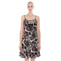 Skull Pattern Spaghetti Strap Velvet Dress