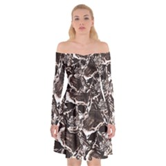 Skull Pattern Off Shoulder Skater Dress