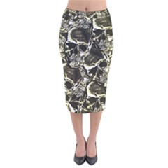 Skull Pattern Velvet Midi Pencil Skirt