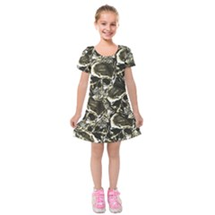 Skull Pattern Kids  Short Sleeve Velvet Dress