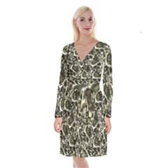 Skull Pattern Long Sleeve Velvet Front Wrap Dress