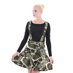 Skull Pattern Suspender Skater Skirt
