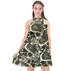 Skull Pattern Halter Neckline Chiffon Dress