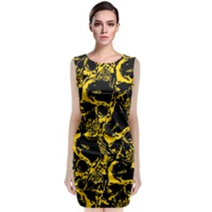 Skull Pattern Sleeveless Velvet Midi Dress