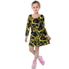 Skull Pattern Kids  Long Sleeve Velvet Dress