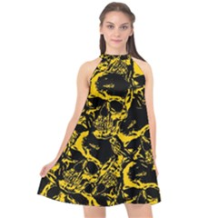 Skull Pattern Halter Neckline Chiffon Dress