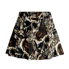 Skull Pattern Mini Flare Skirt