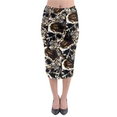 Skull Pattern Midi Pencil Skirt