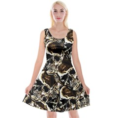 Skull Pattern Reversible Velvet Sleeveless Dress