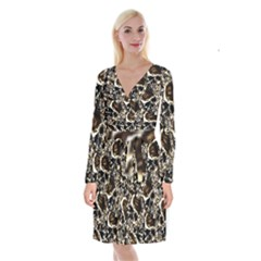 Skull Pattern Long Sleeve Velvet Front Wrap Dress