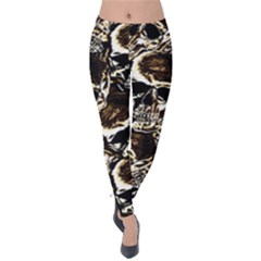 Skull Pattern Velvet Leggings