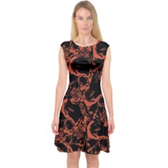 Skull Pattern Capsleeve Midi Dress