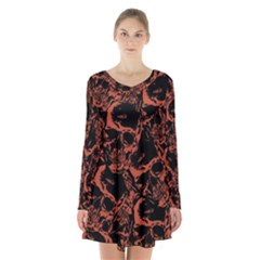 Skull Pattern Long Sleeve Velvet V Neck Dress