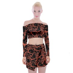 Skull Pattern Off Shoulder Top With Skirt Set
