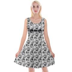 Floral Pattern Reversible Velvet Sleeveless Dress