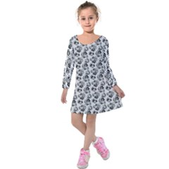 Floral Pattern Kids  Long Sleeve Velvet Dress