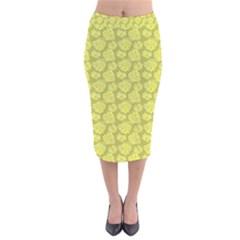 Floral Pattern Velvet Midi Pencil Skirt