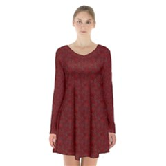 Floral Pattern Long Sleeve Velvet V Neck Dress
