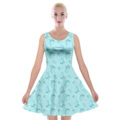 Floral Pattern Velvet Skater Dress