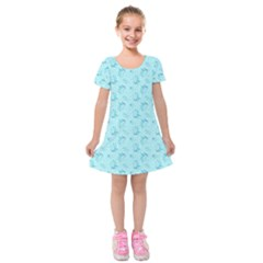 Floral Pattern Kids  Short Sleeve Velvet Dress
