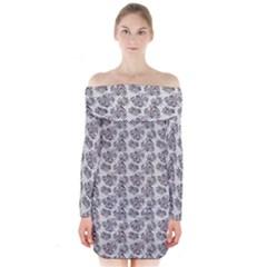 Floral Pattern Long Sleeve Off Shoulder Dress