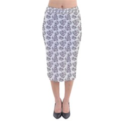 Floral Pattern Velvet Midi Pencil Skirt