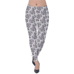 Floral Pattern Velvet Leggings