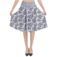Floral Pattern Flared Midi Skirt