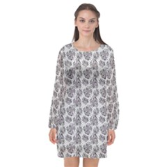 Floral Pattern Long Sleeve Chiffon Shift Dress