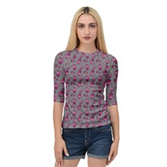 Floral Pattern Quarter Sleeve Tee