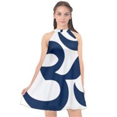 Hindu Om Symbol (dark Blue) Halter Neckline Chiffon Dress