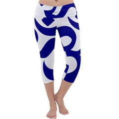 Om Symbol (Navy Blue) Capri Yoga Leggings