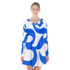 Hindu Om Symbol (blue) Long Sleeve Velvet V Neck Dress