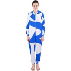 Hindu Om Symbol (Blue) Hooded Jumpsuit (Ladies)