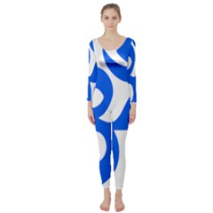 Hindu Om Symbol (blue) Long Sleeve Catsuit