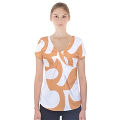Hindu Om Symbol (Sandy Brown) Short Sleeve Front Detail Top
