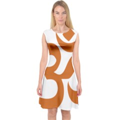 Hindu Om Symbol (Chocolate Brown) Capsleeve Midi Dress