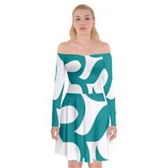 Hindu Om Symbol (dark Cyan) Off Shoulder Skater Dress