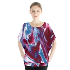 Blue Red White Marble Pattern Blouse