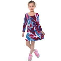 Blue Red White Marble Pattern Kids  Long Sleeve Velvet Dress