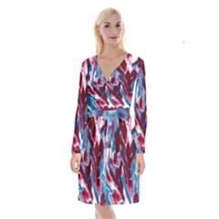 Blue Red White Marble Pattern Long Sleeve Velvet Front Wrap Dress