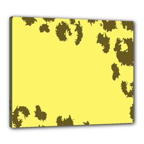 Banner Polkadot Yellow Grey Spot Canvas 24  x 20
